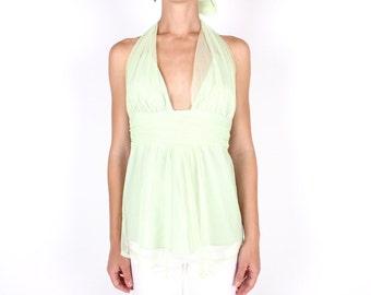 SALE - 00s Millennium Pastel Mint Green TULLE Plunging Neckline V Neck Drape Disco Tie Up Halter Top