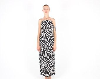 SALE - 90s ZEBRA PRINT Linen Cotton Novelty High Neck Spaghetti Strap Maxi Party Cocktail Bodycon / Bandage Dress
