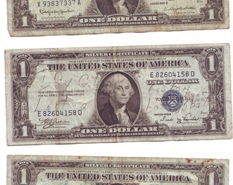 Three  US Silver Certificates Paper Money Writing Related to Gambling Debt Various Series