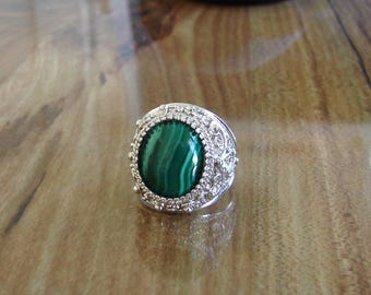 925 Sterling Silver Malachite Filigree Ring