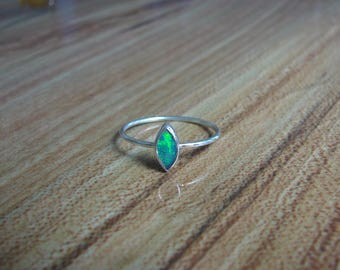 925 Sterling Silver Marquis Opal Ring