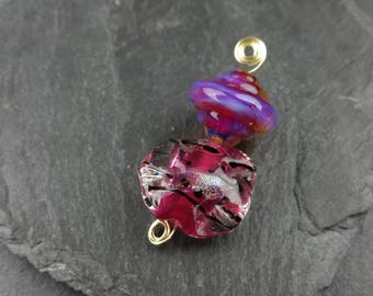 Hot pink lampwork glass bead set