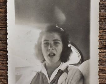 Original Vintage Photograph Girl Yawning