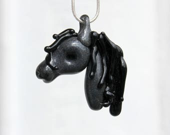 Horse Necklace Glass Pendant Lampwork Equine Mustang Hand blown SRA Grey Green Year of the Horse