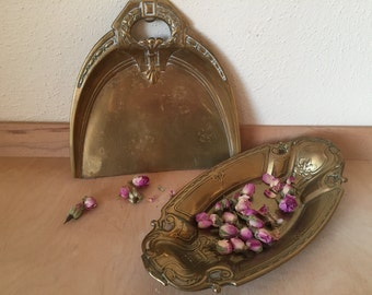 Antique French Art Nouveau Bread Dish and Matching Crumb Tray, French tableware