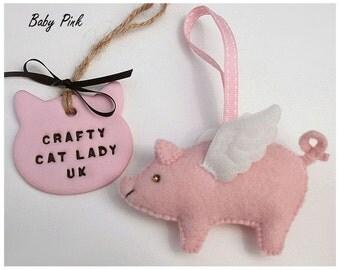 Pig with wings felt ornament, flying Pig, handmade felt pig ornament, baby pink