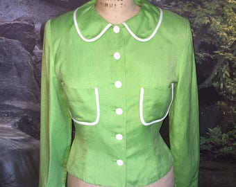 Vintage Lime Green Blazer Maggy London By Kenneth Nolan Size 6
