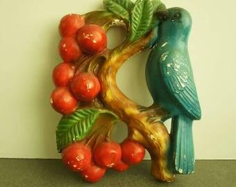 Vintage Chalkware Bluebird and Cherries 1950s Chalkware Bird Kitschy Chalk Bird