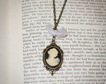 Jane Austen/ Georgian Regency Style Cameo Necklace: Black and Ivory with Bow