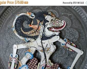 ON SALE Vintage Large Indonesian Wayang Kulit Hand Painted Shadow Puppet w/ Articulated Limbs