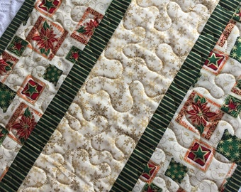Christmas Table Runner Quilt, Green, Gold, Stars, Snowflakes, Quiltsy Handmade