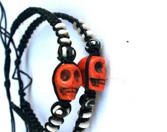 Halloween Skull Bracelet, popular jewelry, Skull jewelry, skull beads, gift under 15,  Day Of The Dead Skull Bracelet, Gift for Her