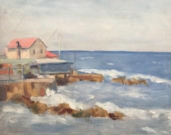 Sea side. Oil painting Adrien Berger Lheureux 1903