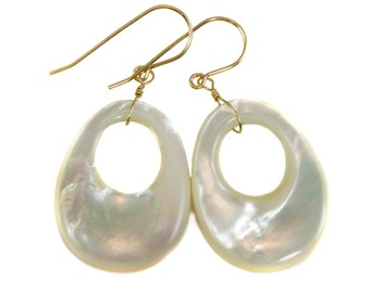Mother of Pearl Earrings White Shell Oval Shaped  Circle Teardrop Natural 14k Gold Filled or Sterling Silver Large Fat High Luster MOP Drops