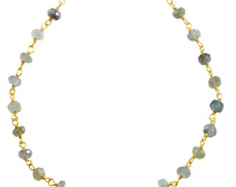 Moss Aquamarine Necklace Chain Link Beaded 14k gold filled Faceted  18 19 Inches Aqua Blue Green Natural Earthy Stones 4mm Beaded