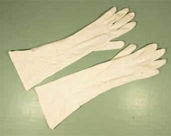 Cream Long Nylon Gloves - Vintage Lady Stretch