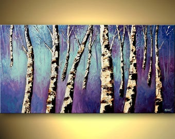 Birch Trees Landscape Print - Stretched Canvas Ready-to-Hang  & Embellished  - Purple Rain - Art by Osnat