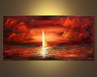 Abstract Sailboat PRINT on Stretched canvas Ready to Hang & embellished - Art by Osnat