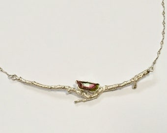 Silver branch necklace with watermellon tourmaline.