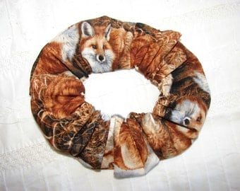 Foxes on hill Fabric Hair Scrunchies, fall foxes, forest woodland animals, women's accessories, womans scrunchies, gifts for her, hair tie