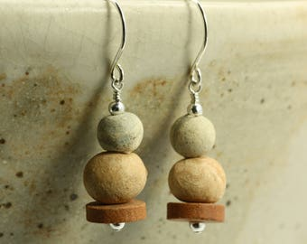 Clay Bead and Sterling Silver Earrings, Brown Earrings, Clay Bead Earrings, Rustic Earrings, Neutral Earrings, Clay Earrings
