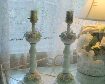 Porcelain Roses Lamps Vintage Bedside Romantic French Shabby Chic