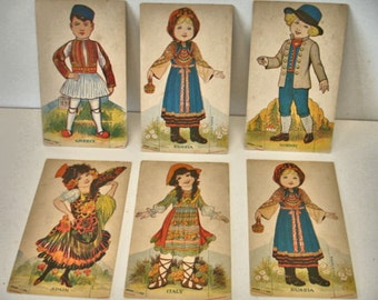 """Victorian Trade Cards Lot of 6 Greece Norway Italy Spain Russia  Boys and Girls """" Cut Out Dolls"""""""