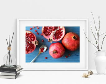 Pomegranate on blue background  - Instant download digital print - Home decor - Food photography - Wall art - Poster