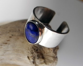 Sterling Silver Lapis Cuff Ring, Wide Ring, Genuine Lapis Lazuli, Dark Blue Lapis, Knuckle Open Ring,  Size 5 1/2, Stone of Enlightenment