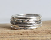 Sterling Silver Hammered Textured Rustic Oxidised Skinny Band Ring Set of Rings