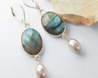 Labradorite Earrings with Gray Pearls  | Bezel Set Gemstone Earrings