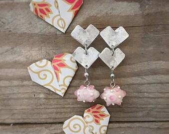 Chevron pink glass stud earrings