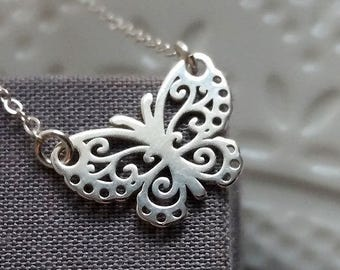 Butterfly Necklace, Sterling Silver Necklace, Filigree Butterfly, Butterfly Choker, Sterling Silver Butterfly, Summer Jewelry