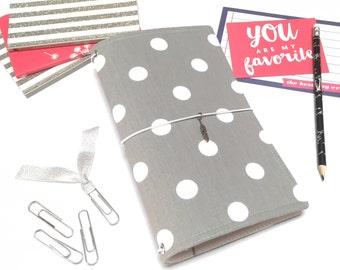 Fauxdori Traveler Notebook Cover. Fabric Journal Cover. Grey with White Polka Dots. Standard Faux Dori. A5 Notebook Cover. Pocket Dori