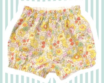 Liberty of London Mini Bloomers   Bubble Shorts for Baby   Yellow Betsy
