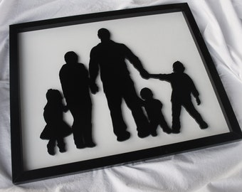 SIZE LARGE Family Silhouette Wood cut-out, with established year option