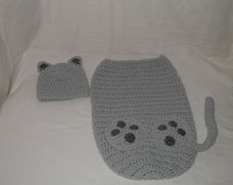 Gray Kitty Cat Hat & Cocoon Snuggle Sack Set for Baby 0-3 Month Size Handmade Crochet - Photo Prop