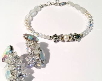 Bridal Earring and Bracelet Duo moonstone and aurora borealis swarovski silver