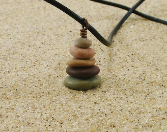 Stacked Beach Stone Pebble Cairn Pendant Necklace with 16 Inch Leather Cording, Nature Inspired Jewelry, Drilled Pebble, Rock Necklace