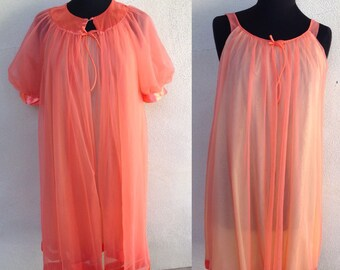 Vintage peignoir set by Lisette neon orange gown and robe sz S/M