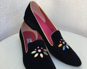 Vintage mid century elegant slippers black velet Rhinestones sz 9N by OOmplies USA
