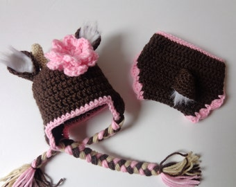 Newborn Deer Crochet Hat and Diaper Cover- Newborn Photo Prop Baby Boy Girl Knit Deer Hat Animal Hat