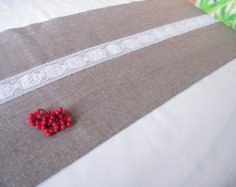 Linen Burlap Table Runner With One Lace Stripe Pure Flax Linen Linens Wedding Bar Table linens