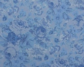 Cotton Floral Fabric, Blue Floral, Blue Rose Fabric, Cotton Blend, Shabby Chic Fabric, Blue Fabric, Sewing - 1 3/4 Yard - CFL2119