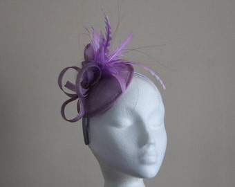 Lilac Lavender Sinamay and Feather Disc Fascinator on a hairband, races, weddings, Ascot, Kentucky Derby