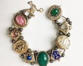 Harrice Miller Vintage Slide Charm Bracelet, Gold Filled Chain & Clasp, Victorian Revival Chunky Bracelet