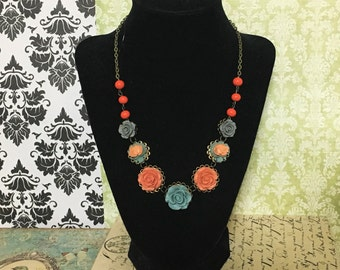 Vintage Inspired Flower Necklace, Dusty Victorian Blue Rose Necklace, Gray Roses, Coral Roses, Coral Red Accent Beads, Antique Bronze