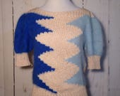 Vtg 80s Knit Sweater Boatneck Mohair Stretch 1980s Blue Cream Top