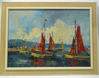 1960s oil painting on canvas with sailing ships