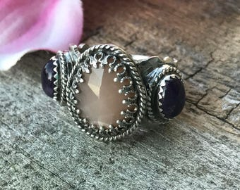Lacey Ring - Peach Moonstone and Amethyst
